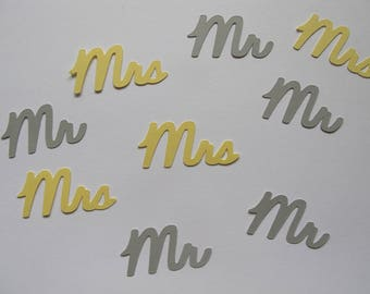 Yellow and Grey Mr. & Mrs. Confetti - Yellow and Grey Wedding Decorations - Yellow and Grey Bridal Shower Decorations  - Yellow Grey Decor