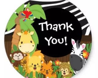 "24 PCS ""Thank You"" Safari Animal Kids Stickers, Seals, Scrapbook Supplies, Stationary, Paper, Paper Stickers, Stickers, Party Supplies"