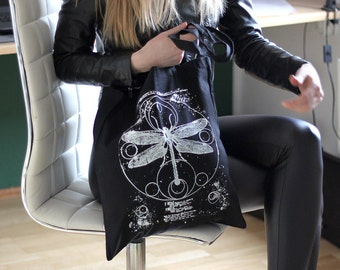 handprinted cotton tote solarsystem moon uccult