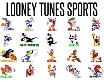20 Looney Tunes Sports Machine Embroidery Patterns, 4 Inch Hoop Designs, Tweety Designs, Embroidery Designs, Bugs Bunny, Instant Download