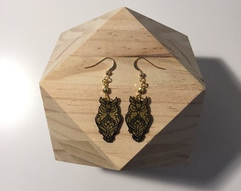 Owls gold and black earrings