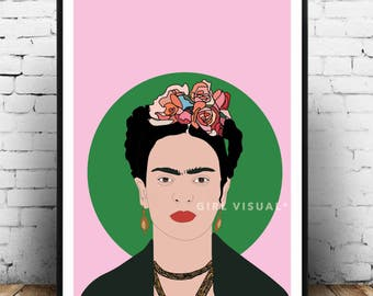 Frida Kahlo wall art, frida kahlo poster, frida kahlo art, pink floral colourful wall art. Frida kahlo gift and home decor!