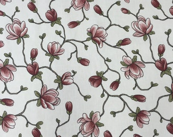 Floral Cotton Fabric, white with Apple Blossom, fabric by the meter