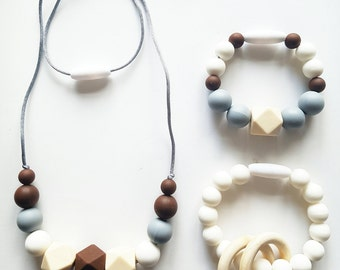 Silicone Teething Necklace Breast Feeding Necklace Teething Jewellery Mum Accessories Teething Beads Chew Beads Baby Shower Gift Baby Gift