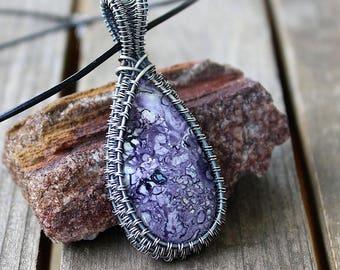 Tiffany Stone Pendant / Sterling and Fine Silver / Wire Wrapped Jewelry / Wire Wrapped Pendant / Bertrandite / Wire Woven Pendant