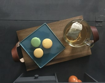 Modern Rustic Wooden Tray with Leather Handles and Brass Hardware