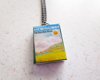 The Sun Also Rises by Ernest Hemingway Vintage Cover Handcrafted Miniature Book Necklace Gunmetal Chain