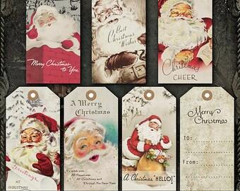 Christmas Gift Tags, Printable Gift Tags, Vintage Christmas Tags, Digital Gift Tags, Holiday Gift Tags, Santa Gift Tags, tags personalized