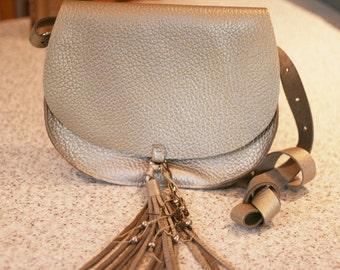 Handmade gold silver metallic leather saddle bag messenger crossbody bag purse satchel handbag shoulder bag