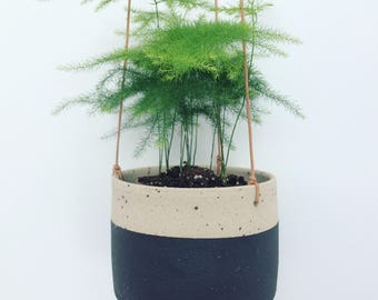 Black/natural handmade ceramic hanging planter (medium)