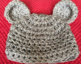 Cute hand made crochet baby hat with ears! 0-6 months.