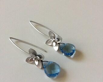 Silver flower earrings with aquamarine Swarovski briolettes.