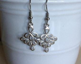Silver brush textured teardrop cluster dangle earrings