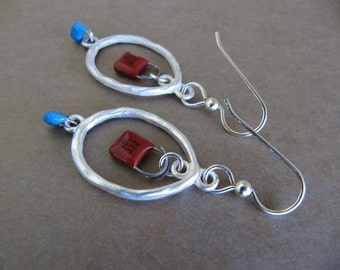 Red and Blue Capacitor Dangle Earrings