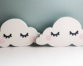 Sleepy eyes cloud shelfie, cloud shelf decoration, MDF cloud, nursery shelf decoration, MDF shape, childs bedroom decor, Scandinavian style