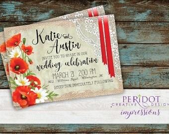 """Vintage Style Red Poppy Wedding Invitation - 5""""x7"""""""