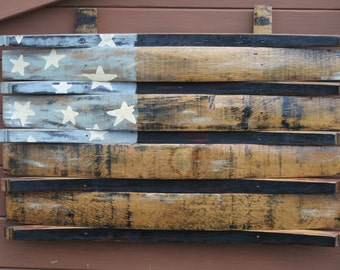Handcrafted Authentic Jack Daniel's Reclaimed Barrel Stave American Flag