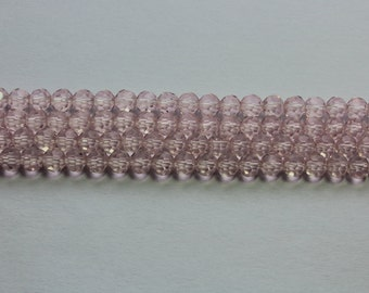4mm Light Pink Clear Beads Crystal Glass Faceted Rounds 15 inch strand 90 Beads