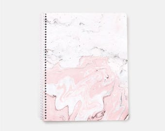 Marble Notebook, Pink Notebook, Lined Notebook, Bujo, Bullet Journal, Spiral Notebook, Large Notebook Journal, Lined Journal, Cute Notebook