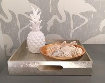 White Modern Ceramic Pineapple Ornament 23cm