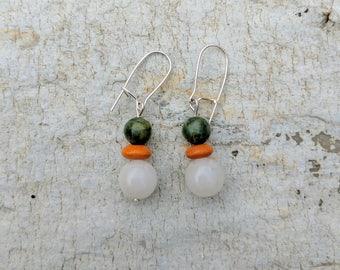 Earrings. Natural stone. Green jasper. Earring. Surgical steel. Kidney ear wires.