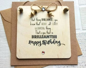 birthday card funny,birthday card for him, birthday card for her, hand made wooden greetings card, personalised wooden plaque