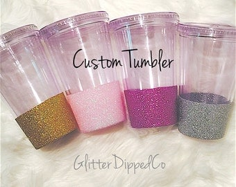 Custom 16oz Tumbler with Lid & Straw//Glitter Dipped//Glitter Cup