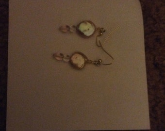 Rosaline czech glass with fresh water coin pearls earrings