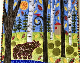 Quilted Wall Hanging- Autumn on Pine Ridge- Appliqued Fabric Collage