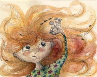 Won't be me head. Child blade, ball prints, red-haired girl, bugs, bug children, child, bug, ginger DinA4