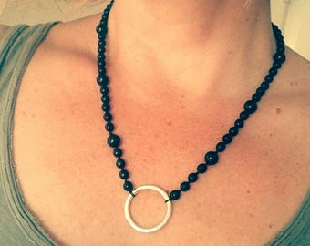 Onyx black bead and Silver ring necklace