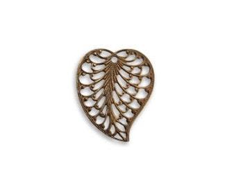 Vintaj Brass Filigree Leaf Charm, Leaf Pendant, Brass Leaf, Filigree Leaf