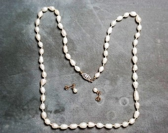 "Freshwater Pearl Necklace 22"" and Earrings"
