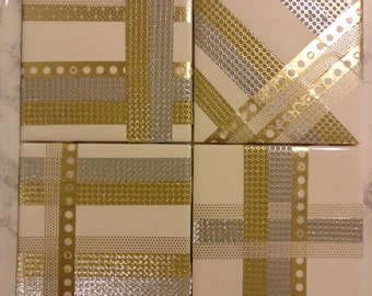 Gold and Silver Tile Coasters