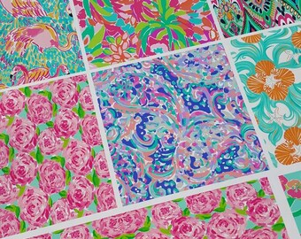 Sample Pack of Six or Three, 6x6 Patterned Vinyl Sheets, Lilly Pulitzer Vinyl Sheets, Lilly Pulitzer Vinyl, Lilly Vinyl