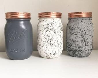 Set of 3 Grey and white Marble Mason jars