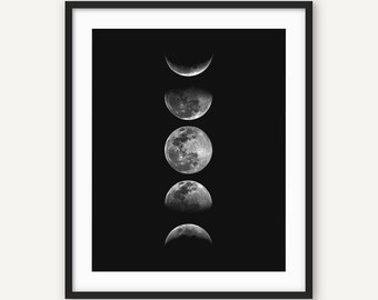 Luna Print, Moon Phases Photography, Lunar Print, Downloadable Print, Space Print, 8x10 Print, Office Print, Office Decor, Moon Poster,