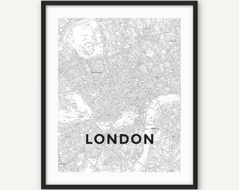 London Print, London Poster, London Wall Art, London Gift, London Map, Black and White London Art, London Printable, Office Print