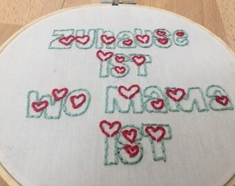 Image of embroidery hoop embroidery Mama
