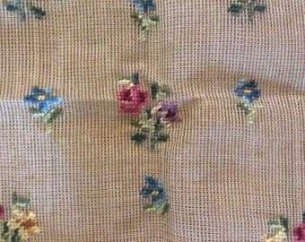 Bucilla Preworked Floral Needlepoint Canvas stool Cover Chair Seat