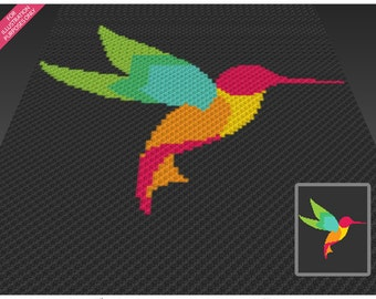 Hummingbird crochet blanket pattern; c2c, cross stitch; knitting; graph; pdf download; no written counts or row-by-row instructions