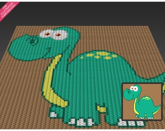 Mister Dinosaur crochet blanket pattern; c2c, cross stitch; knitting; graph; pdf download; no written counts or row-by-row instructions