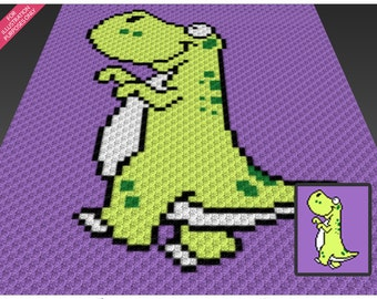 Green Dinosaur crochet blanket pattern; c2c, cross stitch; knitting; graph; pdf download; no written counts or row-by-row instructions