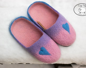 Pink Heart slippers for Women Sheep Wool Shoes Ladies slippers Felted Wool Slippers for women Pantoufles Felted Slippers with Leather soles