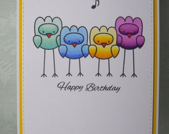 Greeting card, greeting card, happy birthday, funny birds