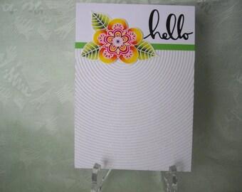 Greeting card, greeting card, modern Mendhi flower, glitter card, Hello