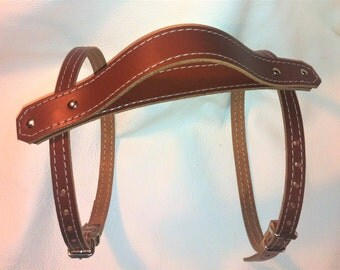 Tan leather Vintage picnic blanket strap with carry handle