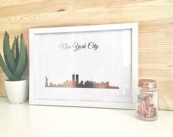 Rose Gold New York City Cityscape/ Skyline Art Framed Print