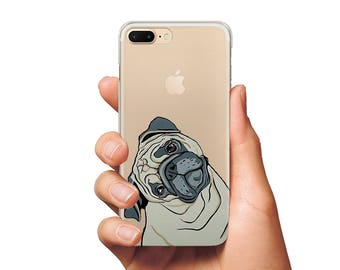 Pug case iPhone 6 s case dog pug case cute pug dog case Samsung S6 Edge case iPhone 5 s case iPhone 7 Plus case clear case phone iPhone case