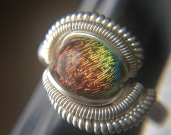 Sterling Silvef Wire Wrapped Dichroic Glass Ring, Heady Wire Wrap, Glass Ring, Wire Wrapped Ring, Wire Wrapped Jewelry, Wire Wrap Ring